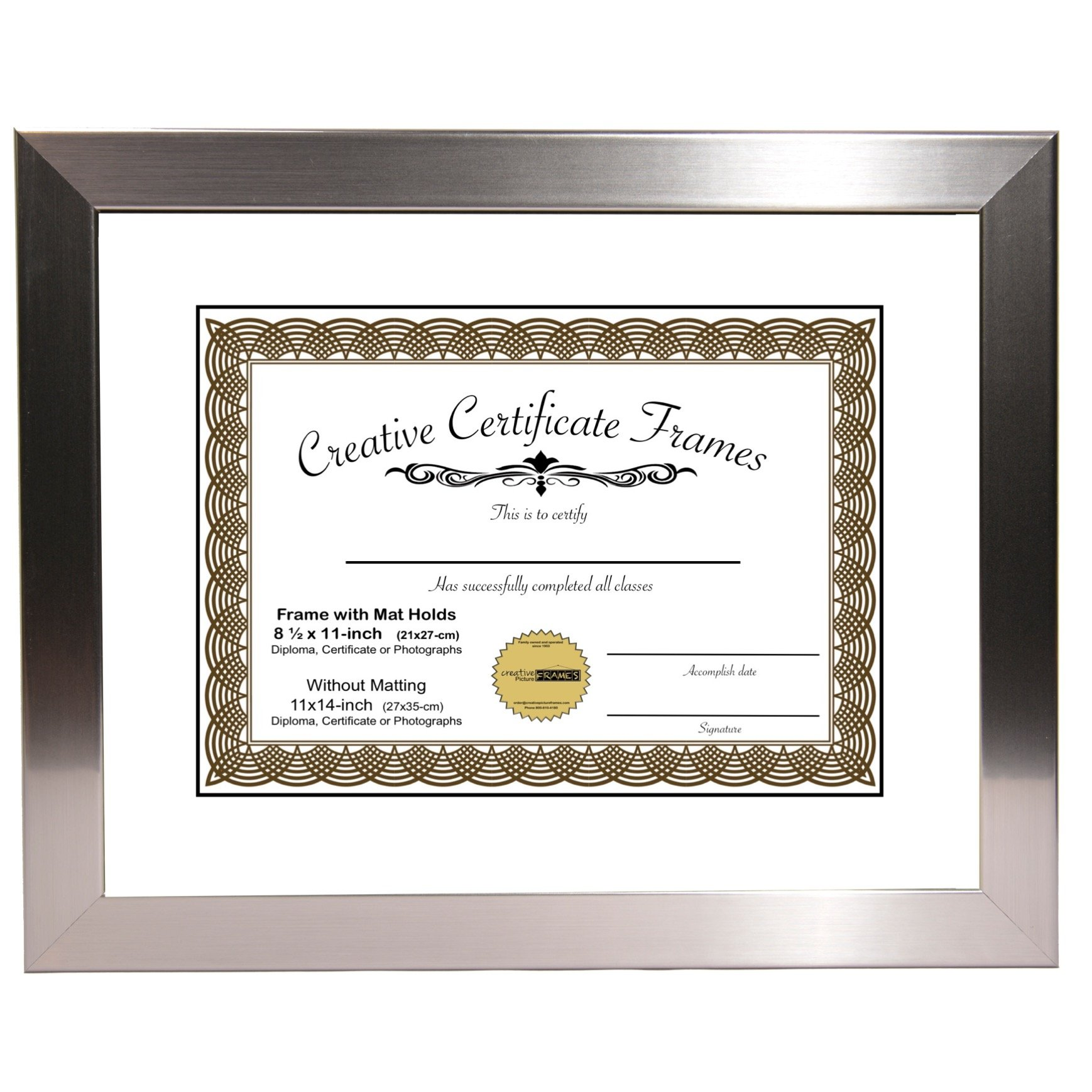 CreativePF [Y8SH-11x14ss-w] Stainless Steel Document Frame Displays 8.5'' by 11'' with Mat or 11'' by 14'' Certificate, Graduation, University, Diploma Frames with Stand & Wall Hanger (Pack of 1)