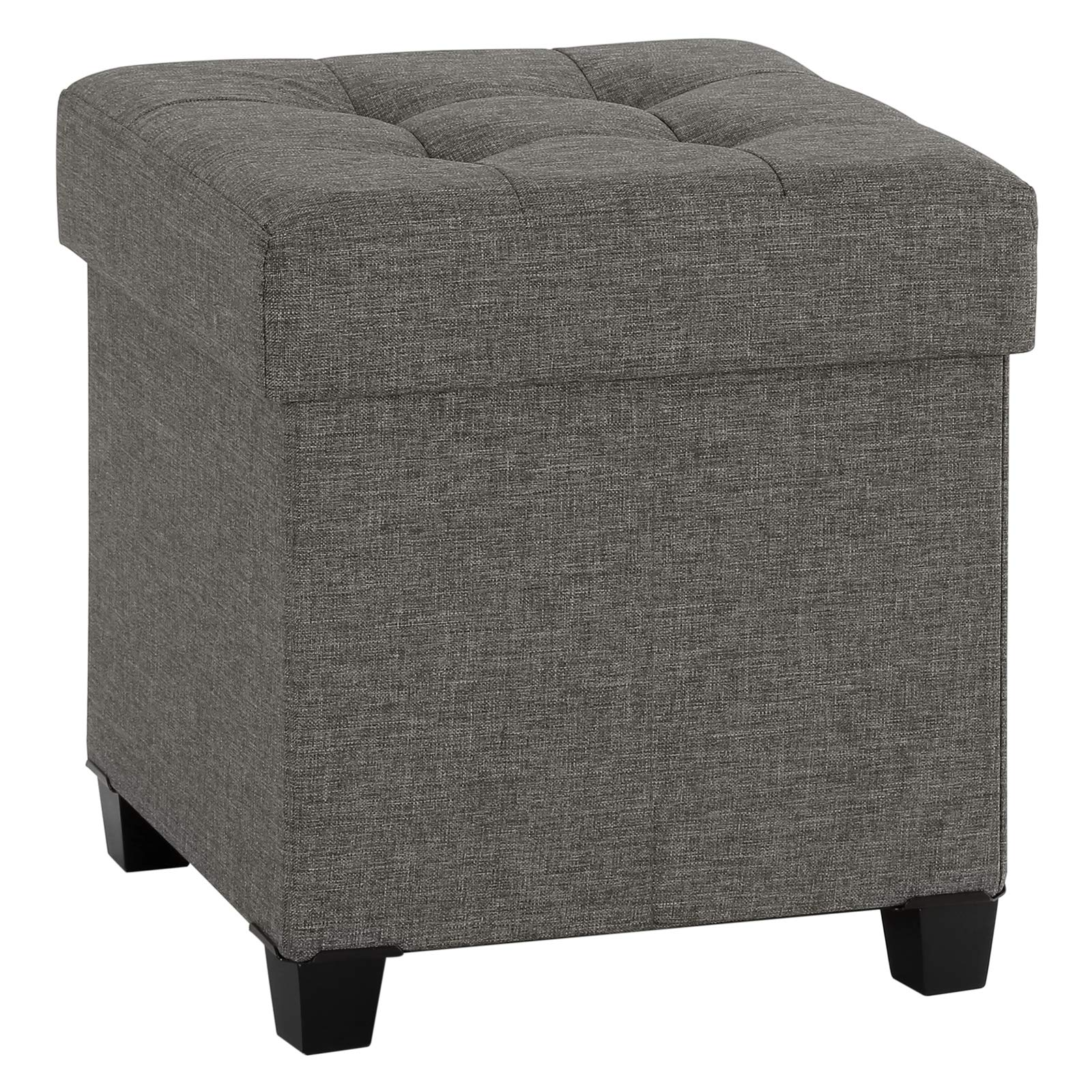 SONGMICS ULSF14GYZ Collapsible Cube Storage Ottoman/Foot Stool/Comfortable Seat/with Wooden Feet and Lid Dark Grey