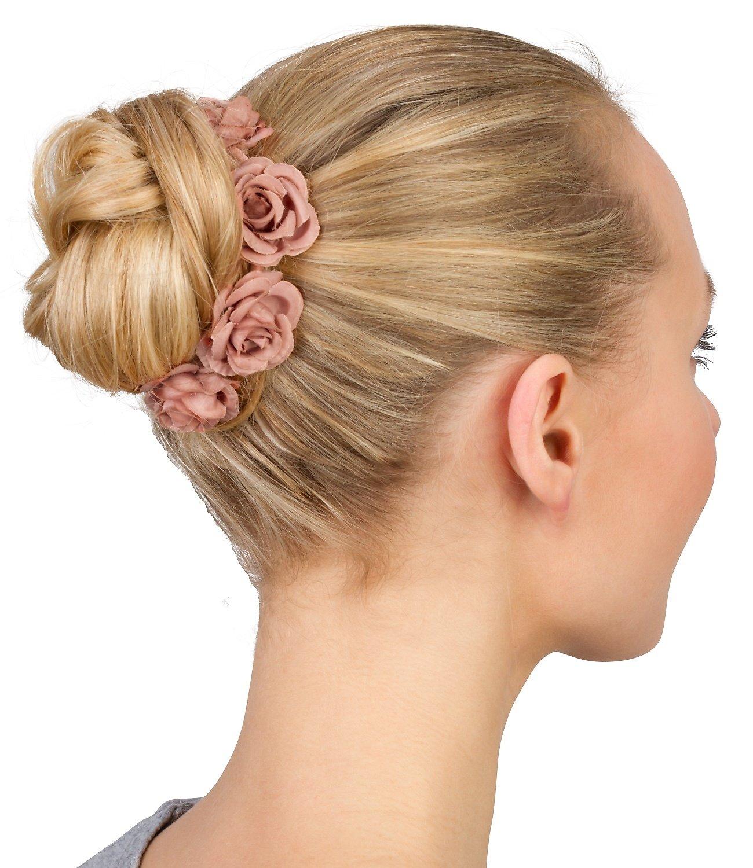 """SIX """"Hochzeit"""" Dutt Haargummi Bun Cuff mit Rosen Blüten Blumen in"""