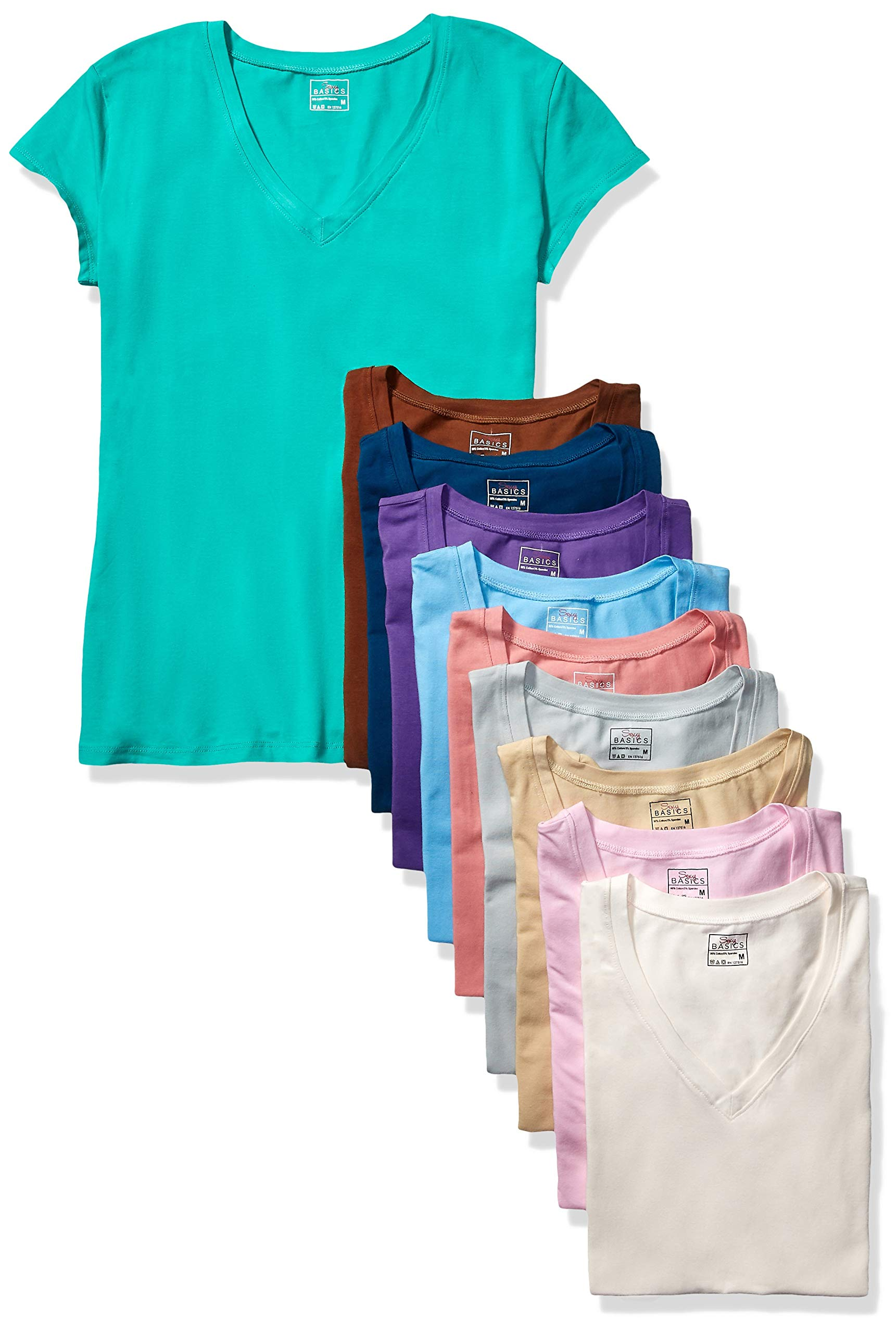 Sexy Basics Women's 5 & 10 Pack Casual & Active Cotton Stretch V Neck Short Sleeve Shirts (2XL, 10 Pack- Assorted Color Blast) by Sexy Basics