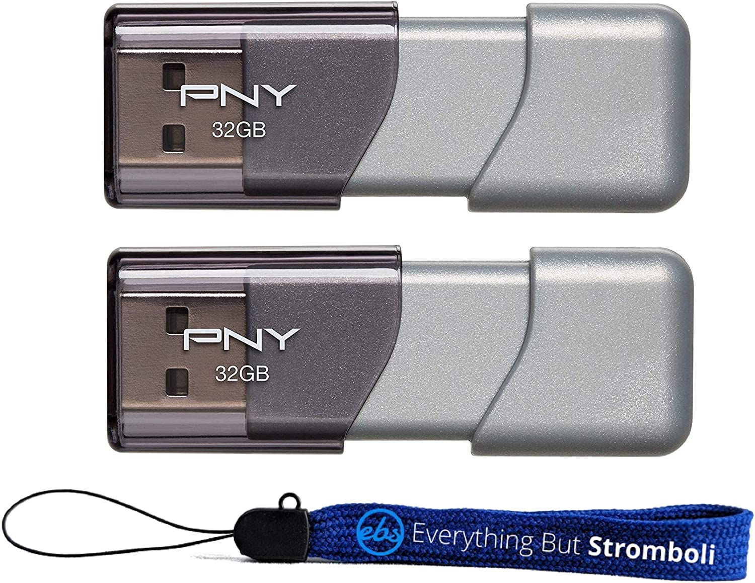 PNY USB 3.0 Flash Drive Elite Turbo Attache 3 Two Pack Bundle with (1) Everything But Stromboli Lanyard (32GB 2 Pack, Gray)
