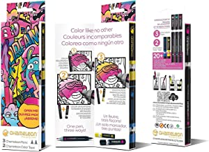 Chameleon Art Products, Chameleon Introductory Kit, 3 Chameleon Pens + 2 Chameleon Color Tops