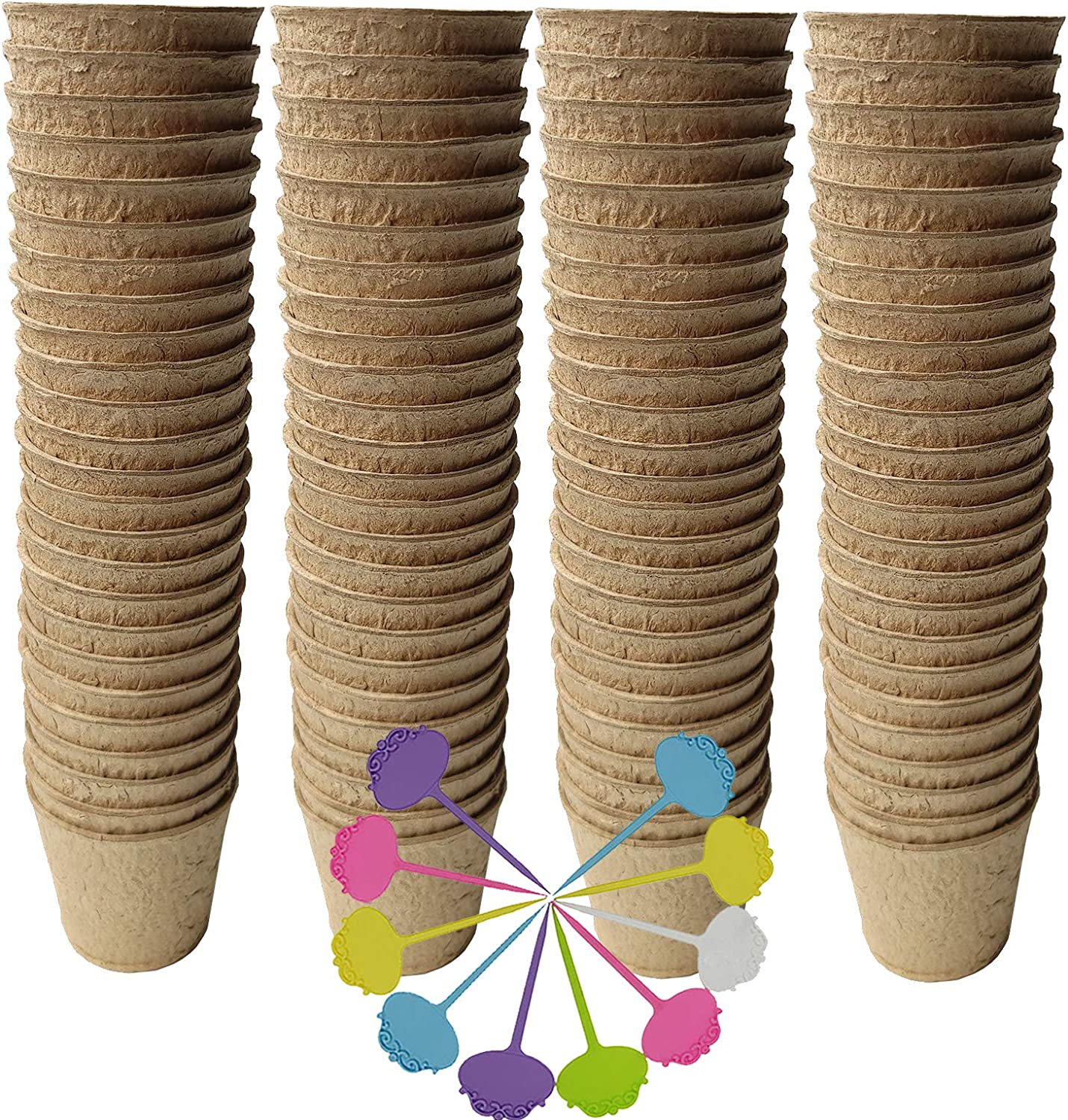 Biodegradable Peat Pots for seedlings, 100 Pack Plant Seed Starter Pots Kit, 2.36inch Succulent Planter Nursery Pots with Free Plant Markers, Garden Germination Kits