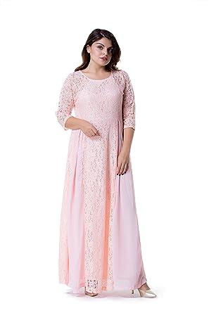 9ac83cec053 ESPRLIA Women s Plus Size Floral Lace 3 4 Sleeve Wedding Maxi Dress ...
