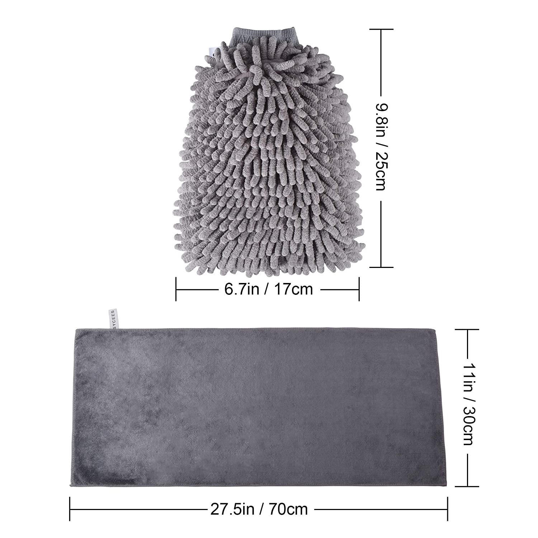 weicher Korallen Auto Chenille Waschhandschuh Handschuh mit Reinigungstuch Trokentuch f/ür Autow/äsche SYCEES 2 St/ücke Wasserdicht Mikrofaser Autowaschhandschuh und 1 St/ück Microfasertuch Set