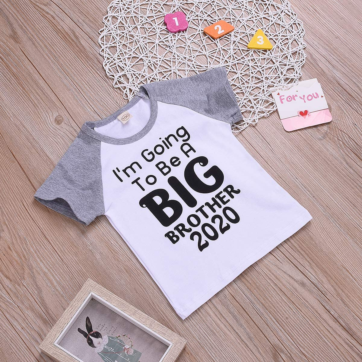 Aunavey Toddler Baby Girls Big Sister//Brother 2020 Letter Print Shirts Basic Cotton Blouse Top