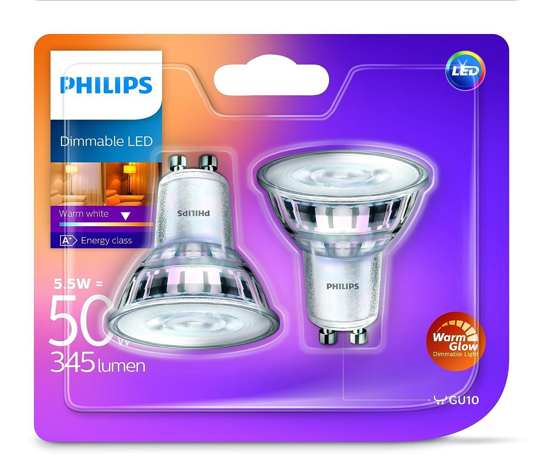 Philips - Bombilla LED (cálida luz 5,5 W, de cristal, luz LED regulable, Reemplazo para focos halógenos de 50 W), vidrio sintético, transparente, GU10, ...