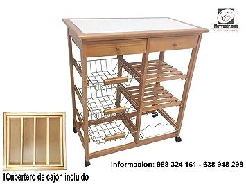 Mueble Gestion Frutero Verdulero Oporto 3 Cajones Color Miel (1 Cubertero Incluido): Amazon.es: Hogar