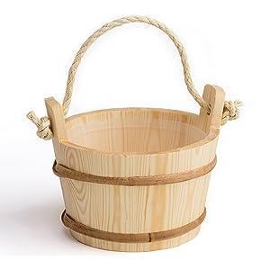 Sauna bucket (cord grip) - Pine, 4 litre - Plastic inner bucket (Pinetta, Finland)