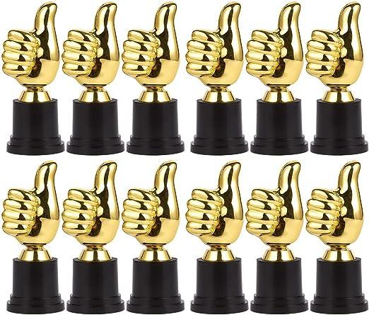 Pack de 12 Mini Trofeos – Thumbs Up trofeo – Emoji trofeos – Kids Trophy – Trofeo de plástico – trofeos para niños, oro, negro: Amazon.es: Deportes y aire libre
