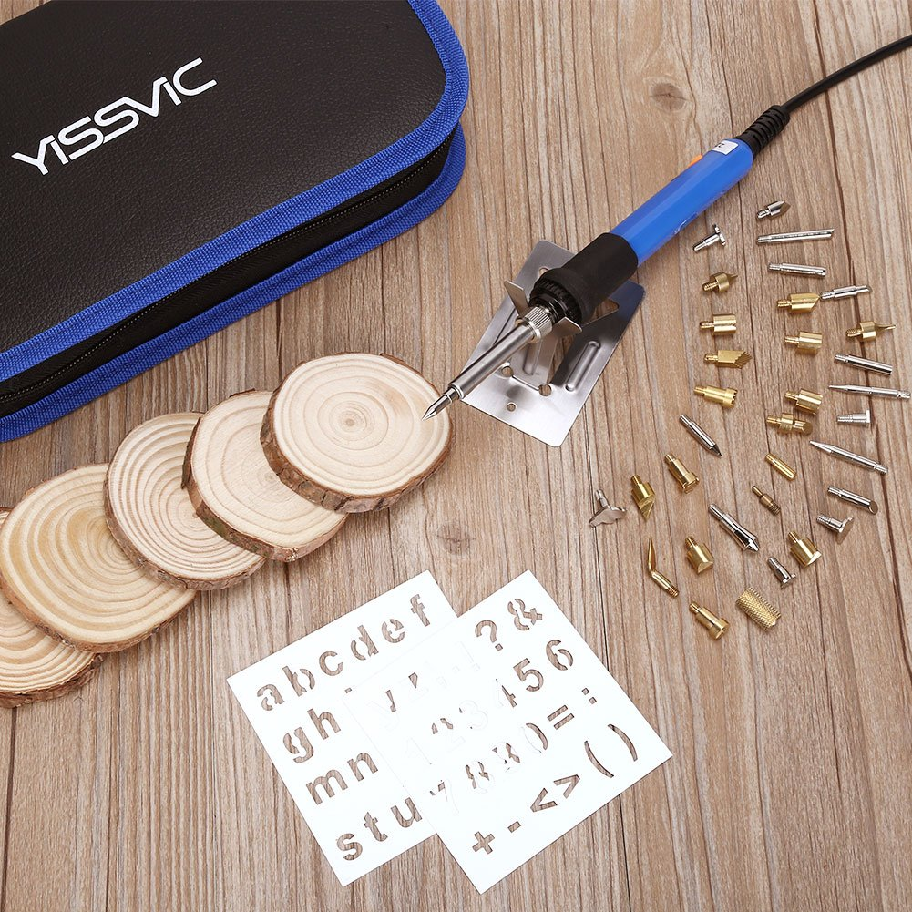 YISSVIC 48Pcs Wood Burning Kits Adjustable Temperature 60W 110v with Wood Slice and Various Wood Burning/Embossing/Carving/Soldering Tips & Carbon Transfer Paper Smile&Satisfaction