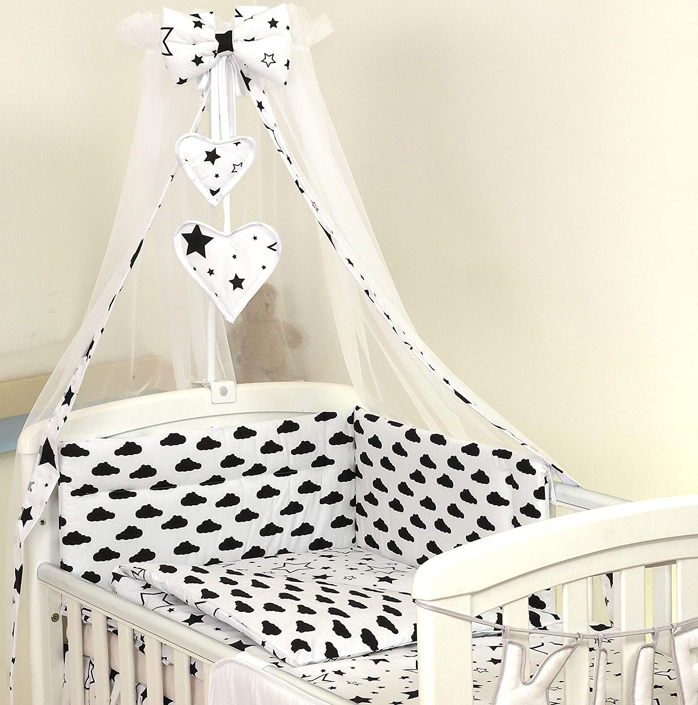 PRO COSMO 11 Piezas juego de ropa de cama para cuna de beb/é cama edred/ón dosel 120x60cm, 18 Estrellas azules soporte