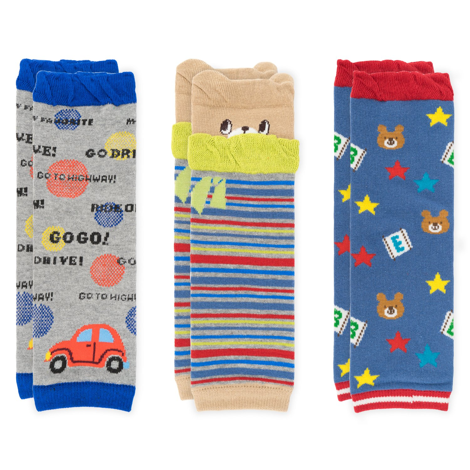 Ateid Infant Toddler Long Leg Warmers Knee Protecter Cotton for 6-36 Months Pack of 3