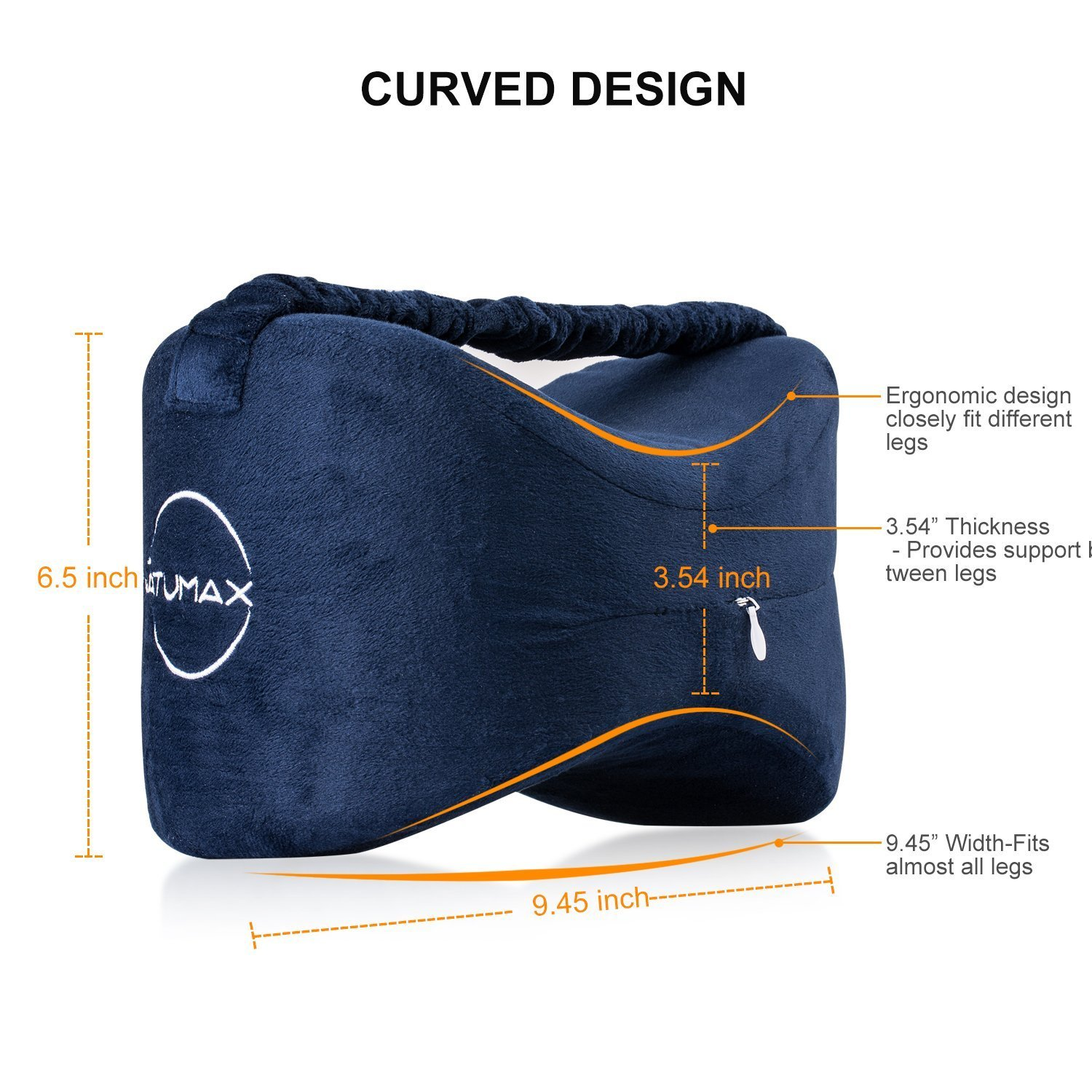 NATUMAX Knee Pillow for Side Sleepers - Sciatica Pain Relief - Back Pain, Leg Pain, Pregnancy, Hip and Joint Pain Memory Foam Leg Pillow with Washable Cover + Free Sleep Mask and Ear Plugs by NATUMAX (Image #3)