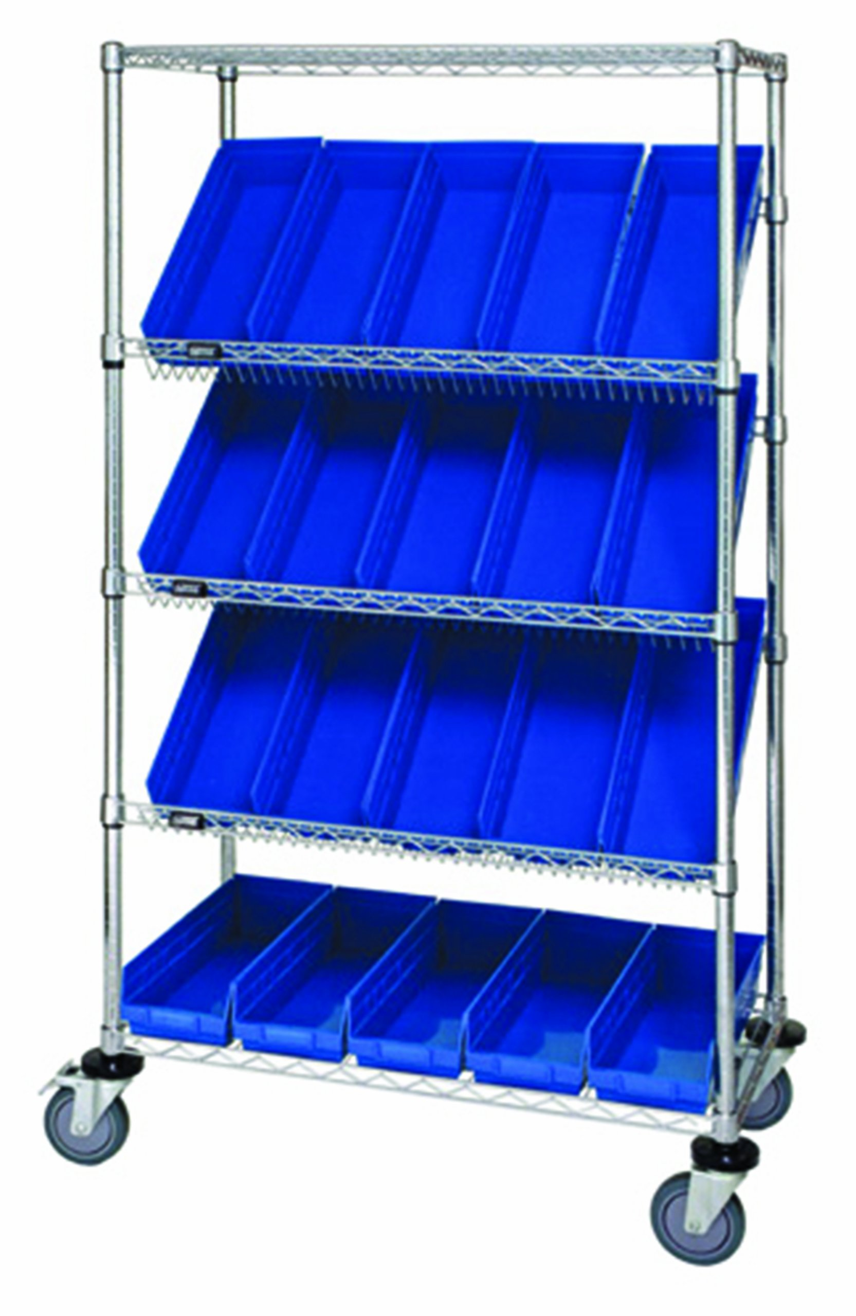 Quantum Storage Systems WRCSL5-63-1836-104BL 5-Tier Slanted Wire Shelving Suture Cart with 20 QSB104 Blue Economy Shelf Bins, 2 Horizontal and 3 Slanted Shelves, Chrome Finish, 69'' Height x 36'' Width x 18'' Depth