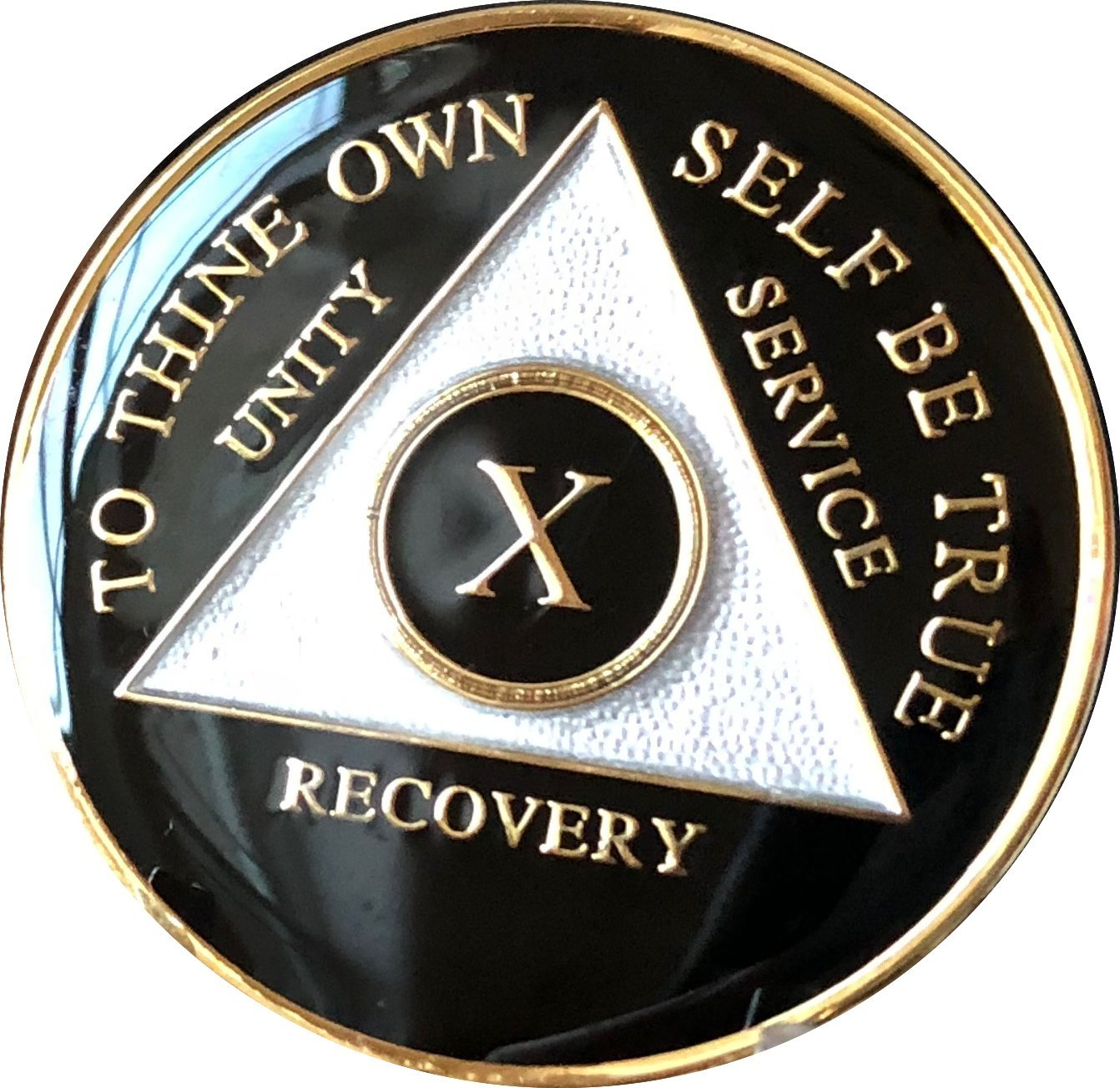 10 Year AA Medallion Glossy Black Tri-Plate Gold Plated Chip