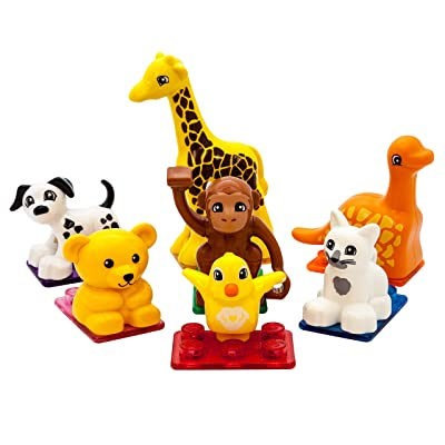 PicassoTiles 7pc Magnetic Animal Action Figure Set for Magnet Building Block Educational STEM Learning Kit Construction Toy Pretend Playset Child Brain Development HandEye Coordination Training PTA07: Toys & Games