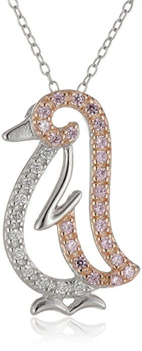Amazon rose gold plated sterling silver pink and white cubic rose gold plated sterling silver pink and white cubic zirconia penguin pendant necklace 033 cttw aloadofball Gallery