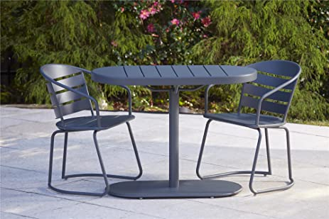 cosco outdoor 3 piece metro retro nesting bistro steel patio furniture set assembled gray - Garden Furniture Steel