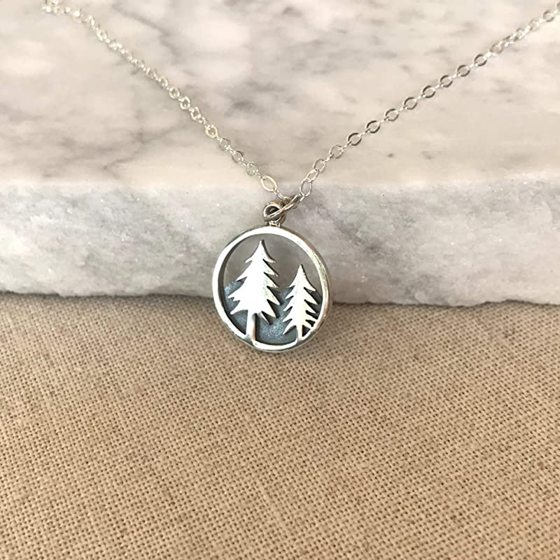 Mountain Peak and Pine Trees Necklace available  in 925 Sterling Silver or Silver Plated by JoyfulSilver