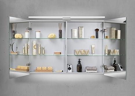 Spiegelschrank Bad 100 Cm Led Beleuchtung Doppelseitig Verspiegelt