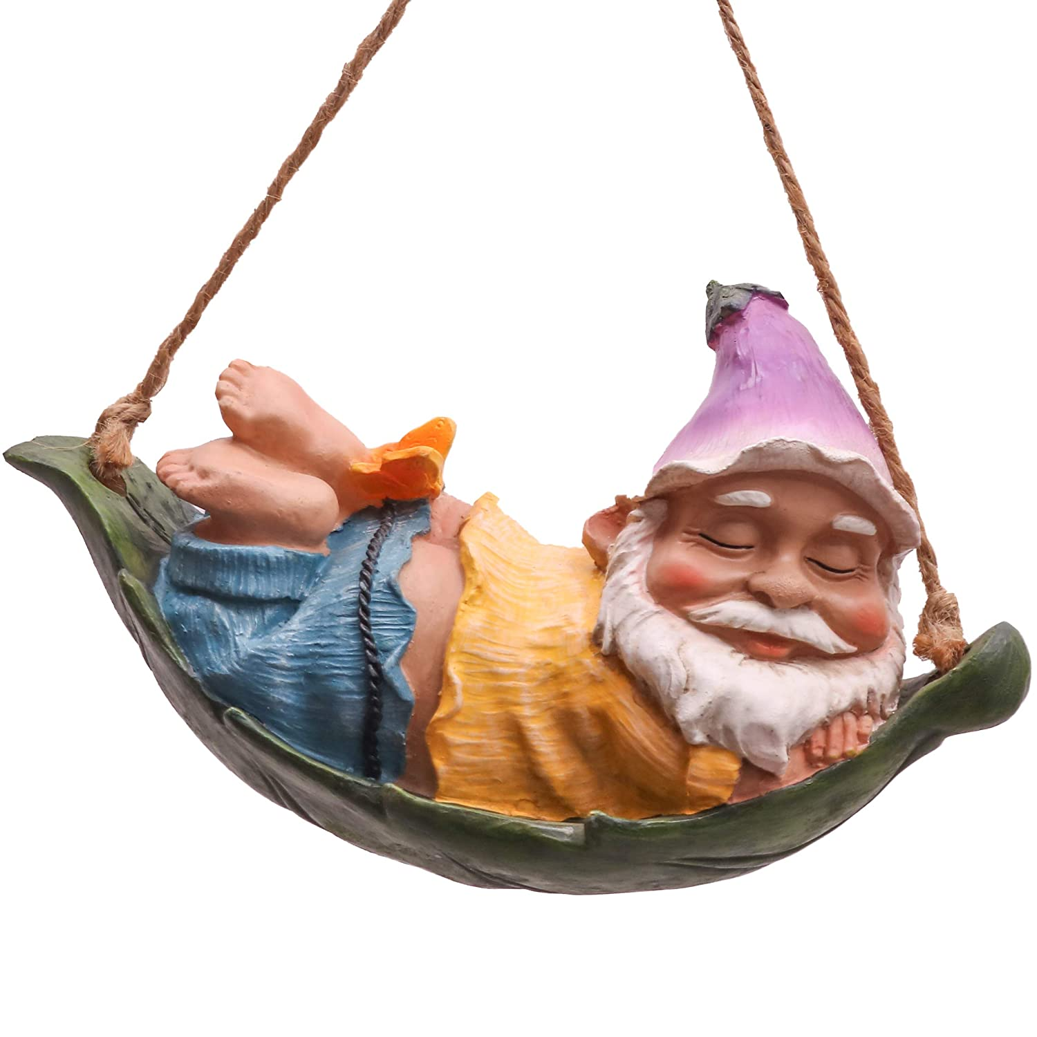 Teresa's Collections 7.3'' Funny Miniature Leaf Hammock Garden Gnomes Hanging Statues Dwarf Figurine for Lawn Patio Yard Outdoor Decorations