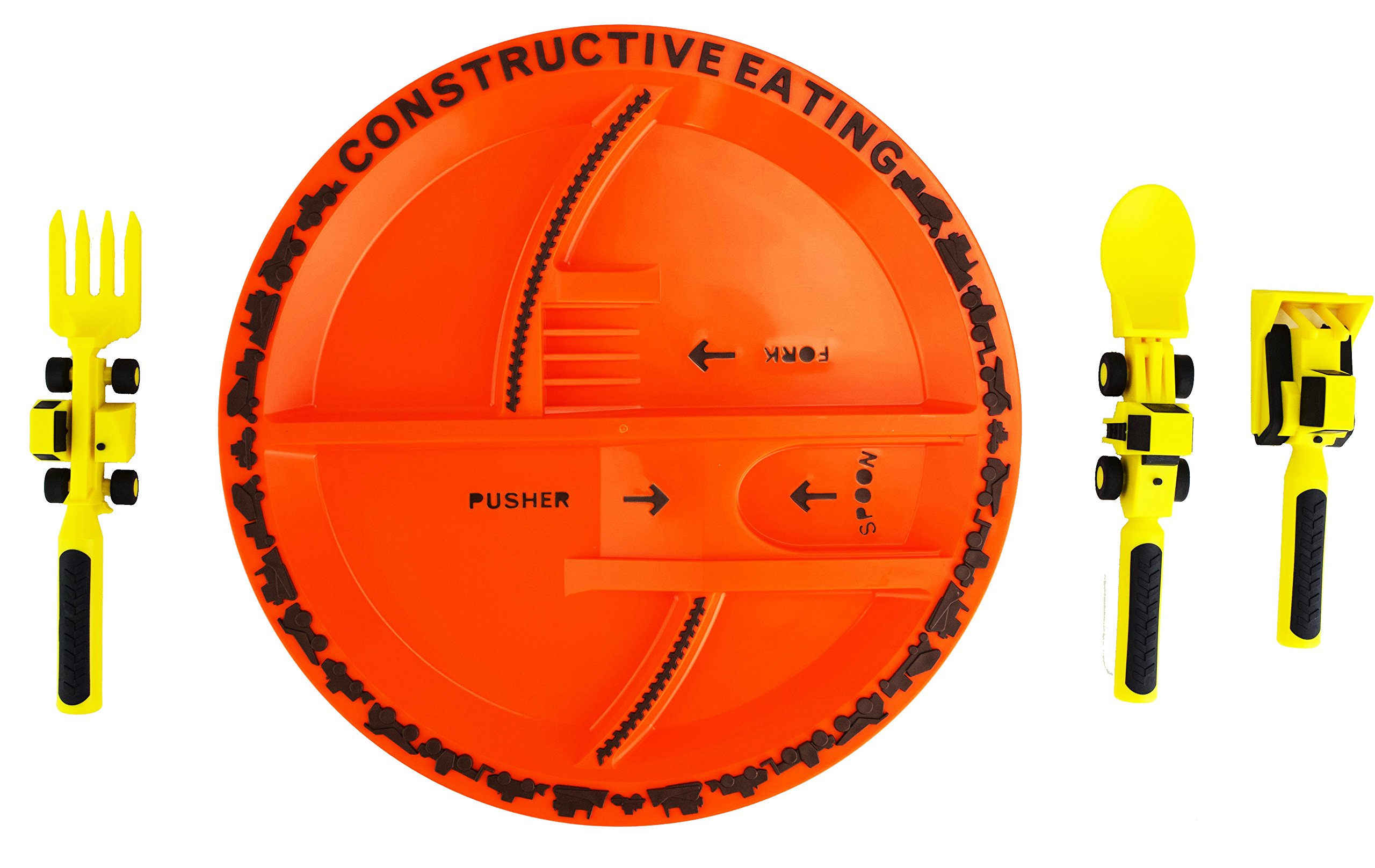 Constructive Eating Construction Plate with Construction Utensil Set for Toddlers, Babies, Infants and Kids - Flatware Toys are Made in the USA with FDA Approved Materials for Safe and Fun Eating by Constructive Eating