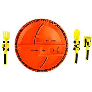 Constructive Eating Construction Combo with Utensil Set and Plate for Toddlers, Infants, Babies and Kids - Flatware Toys are Made in The USA with FDA Approved Materials for Safe and Fun Eating