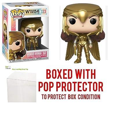 Wonder Woman Golden Armor Pop #323 Pop Heroes: Wonder Woman 84 Vinyl Figure (Bundled with EcoTek Protector to Protect Display Box): Toys & Games