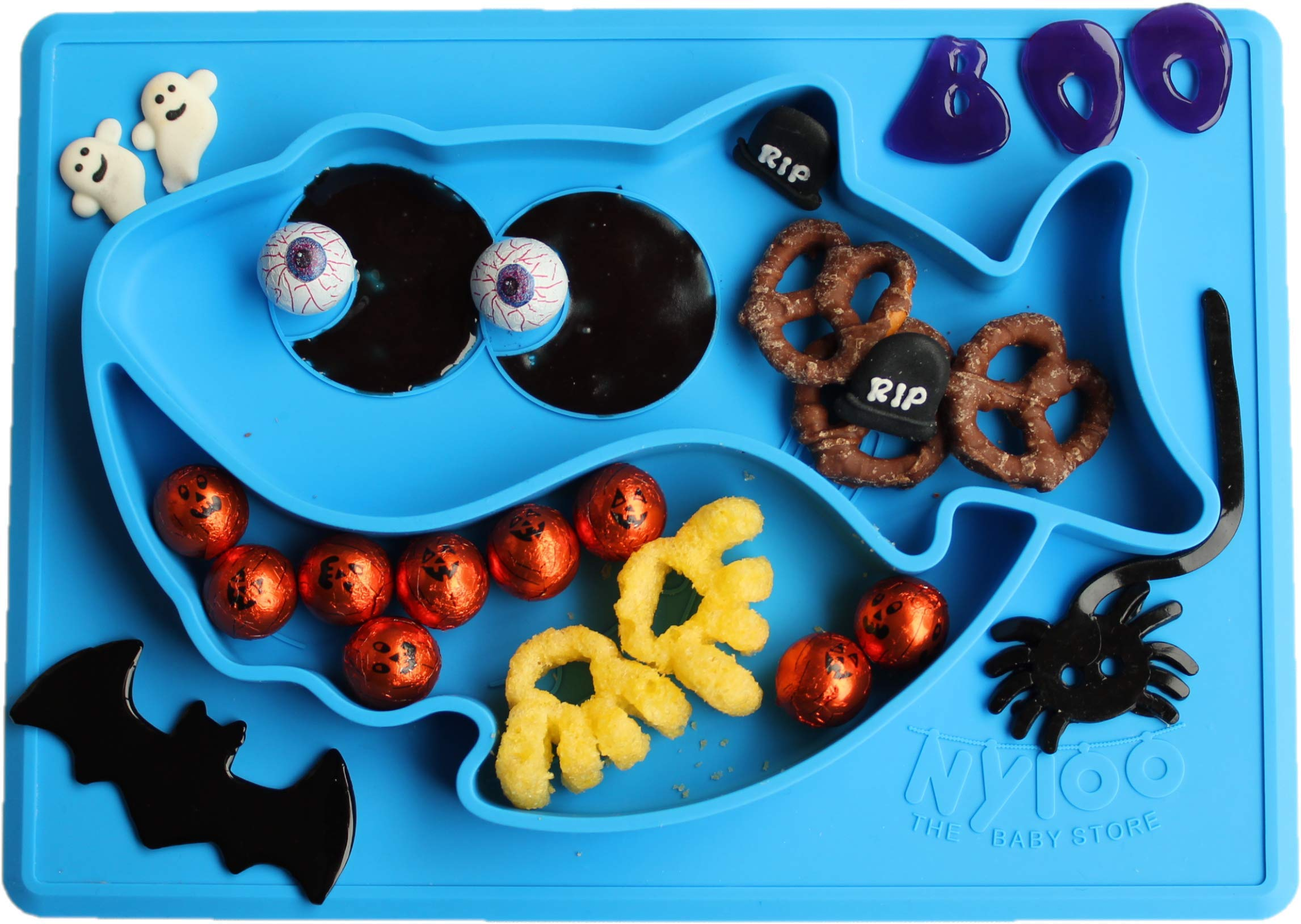 Baby Shark Halloween placemat/Plate by Nyloo -The Baby store, for Babies and Toddlers Over 6 Months, Blue, Made Out of FDA Approved Silicone by Nyloo - The Baby Store