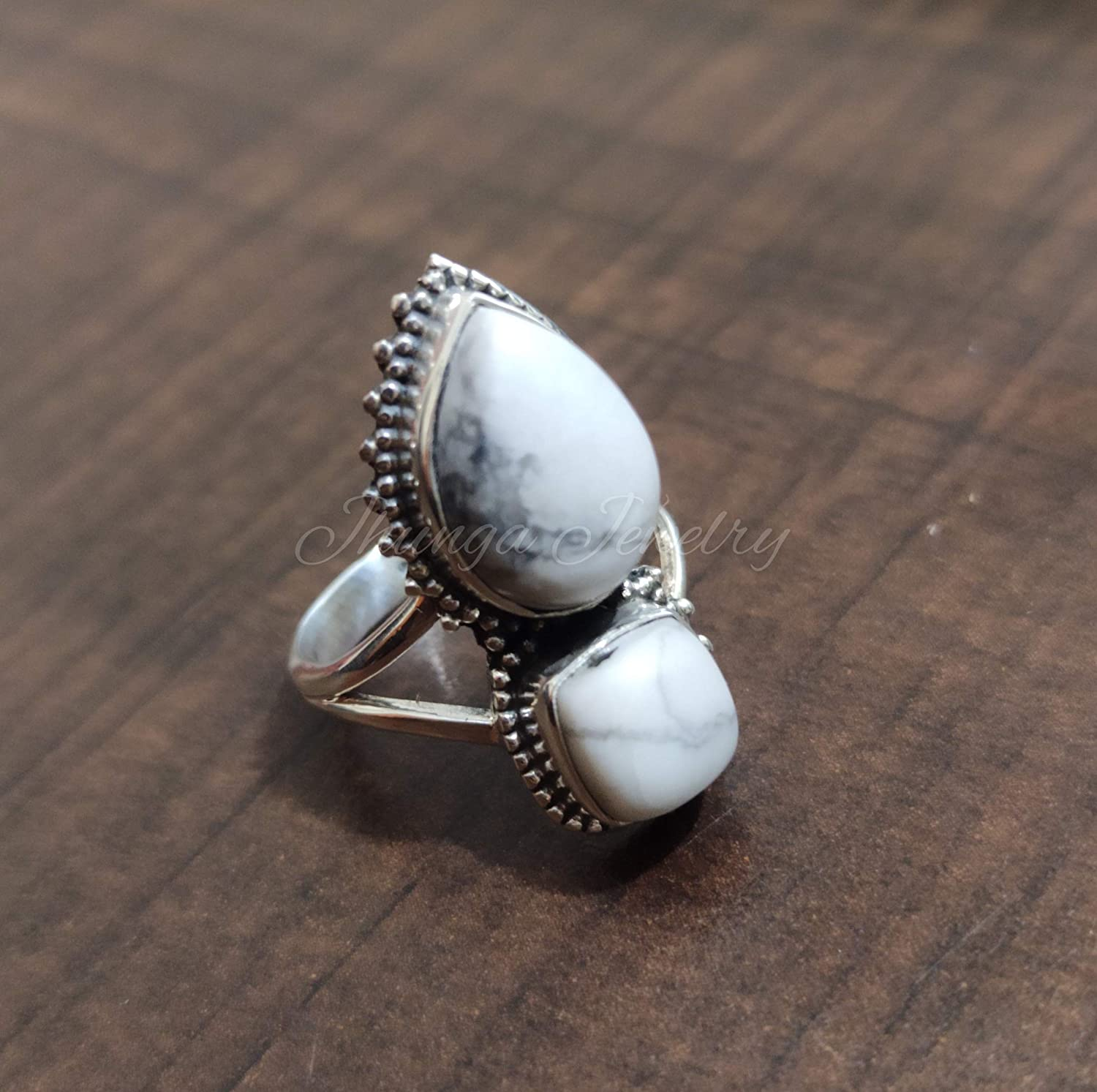 Howlite Cluster Sterling Silver Ring