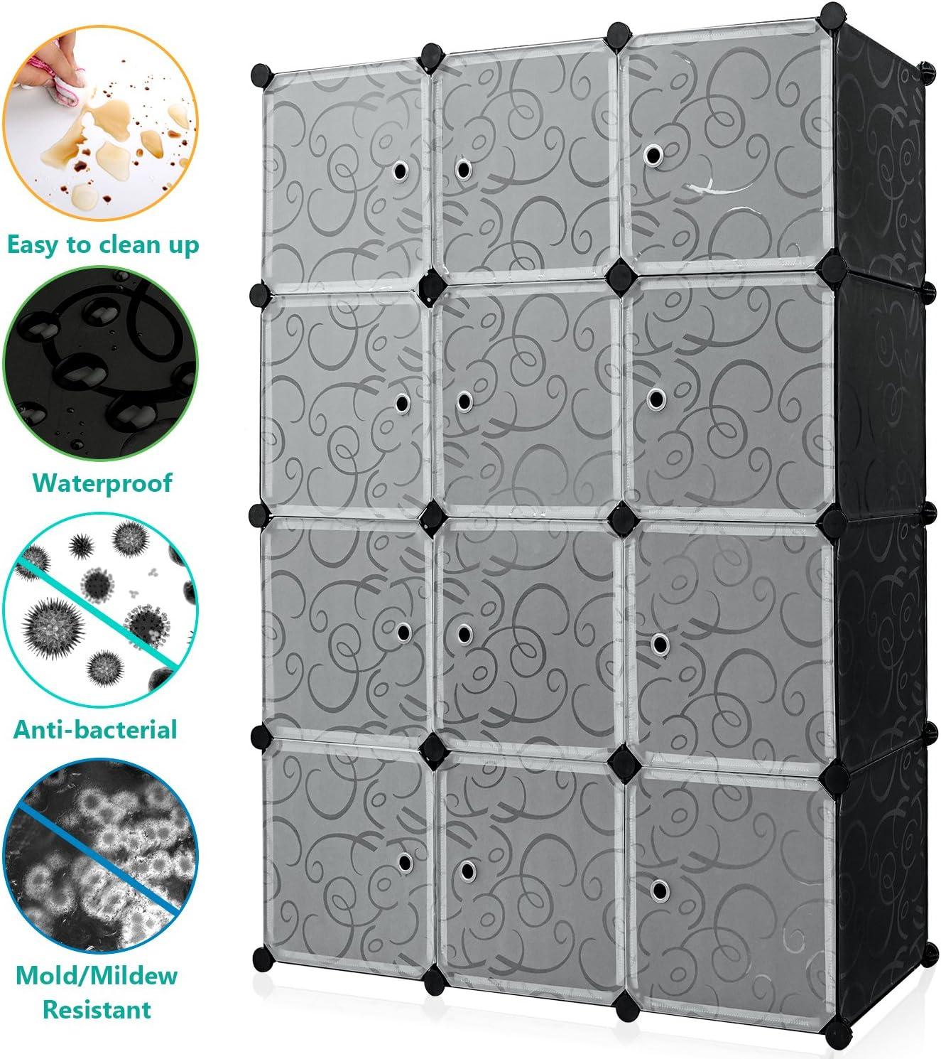 Carttiya Armario Modular Organizador de Plástico de Almacenaje, Rápido para Montar diseño Creativo de Bricolaje Solid PP Eco-Materiales fácil de Limpiar 32.99 * 32.99 cm (Cada Cubo) (12 Cubos): Amazon.es: Juguetes y juegos