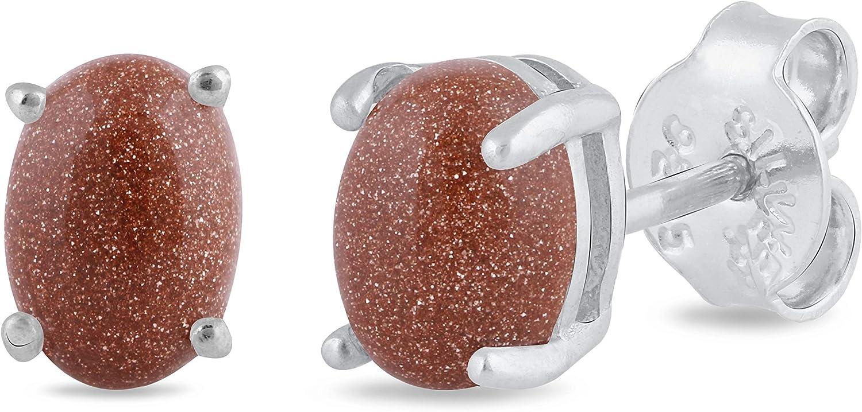 Silgo - Pendientes de plata de ley 925 para mujer, hipoalergénicos, chapados en rodio de 7 x 5 mm, con piedra ovalada de sol – Pendientes de tuerca para niñas (azul y marrón)