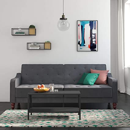 Amazon Com Elegant Split Back Velvet Sofa Bed Wide Track Arms