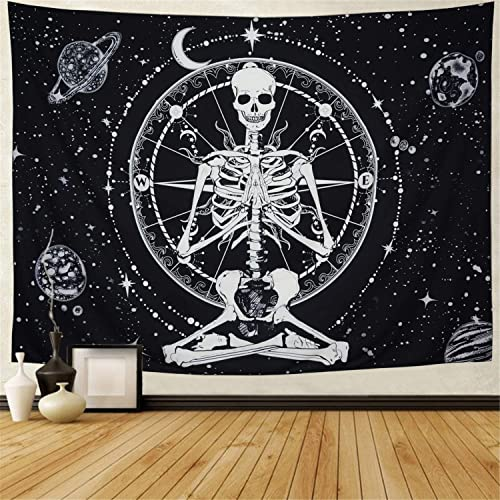 Amonercvita Starry Skull Tapestry Moon Planet Chakra Tapestry Yoga Meditation Skeleton Tapestry Black and White Stars Tapestry for Room X-Large, Starry Skull