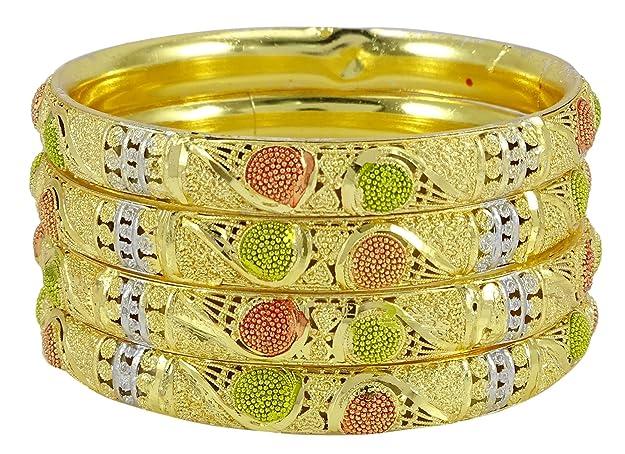Banithani joyería tradicional chapado en oro de Bollywood Kada brazalete de la pulsera de las mujeres nupciales 2 * 10