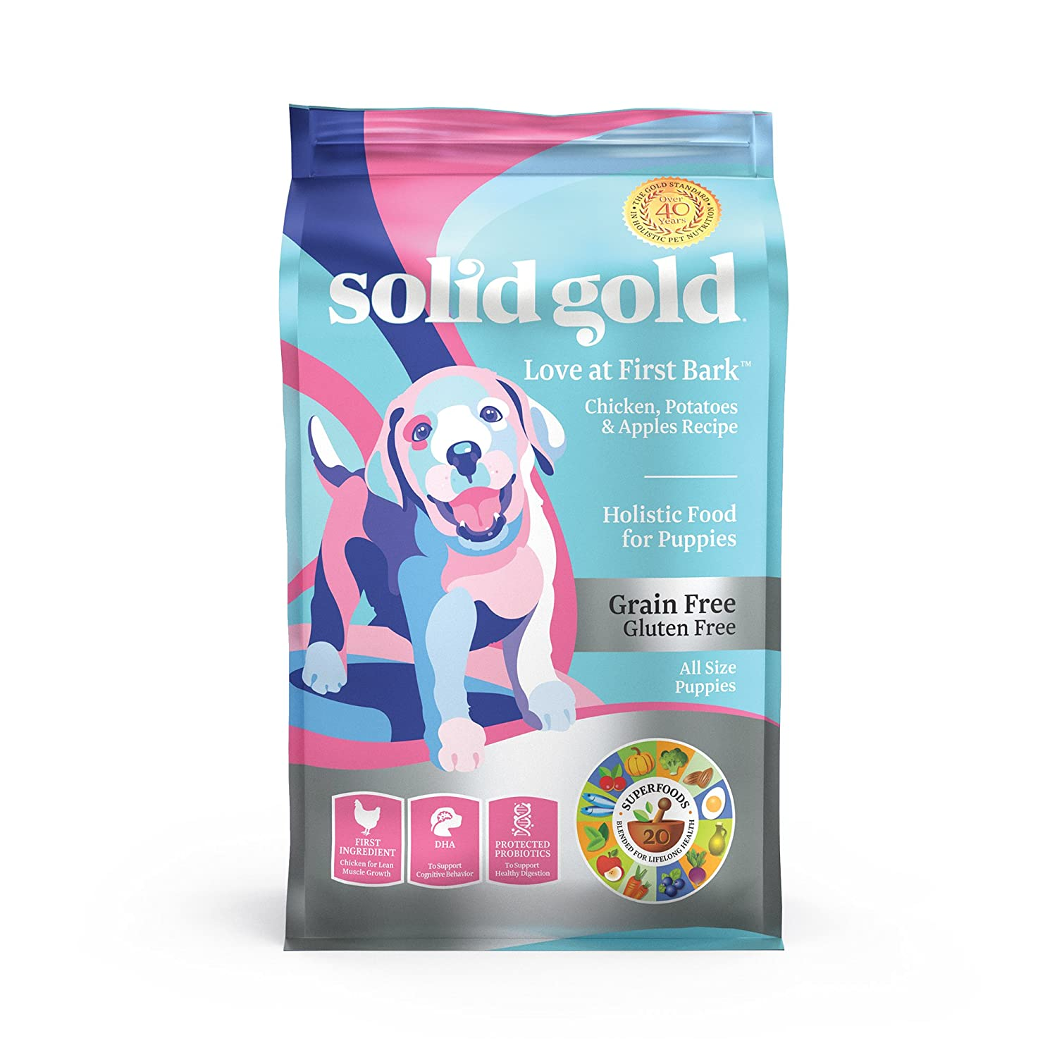 Solid Gold – Love at First Bark – Natural Dog Puppy Food – Holistic Superfoods Rich Food for Puppies of All Sizes Breeds
