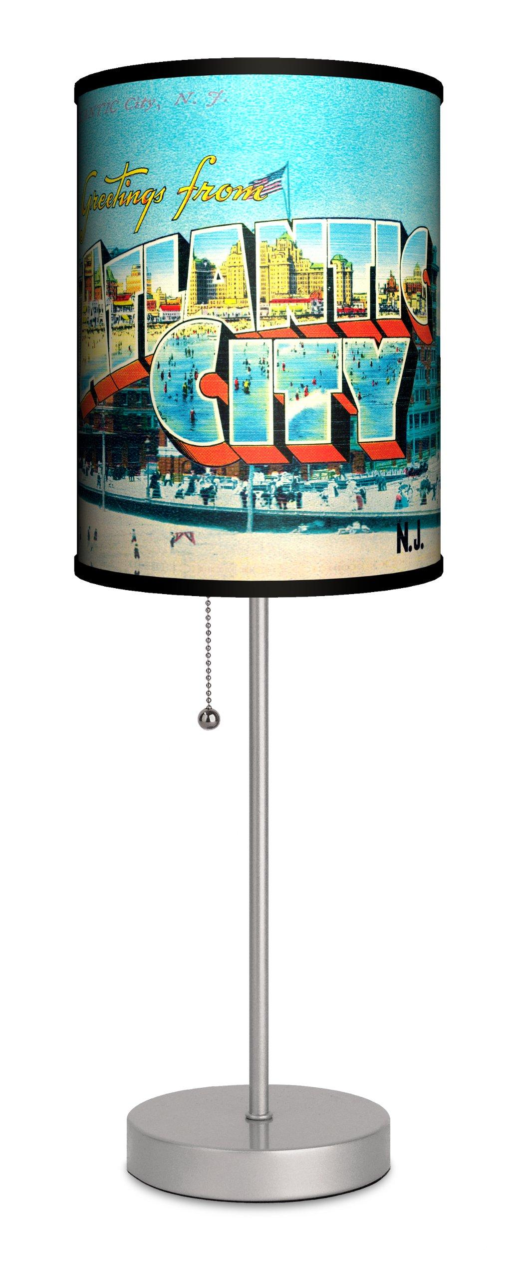 Travel - Atlantic City Postcard Sport Silver Lamp