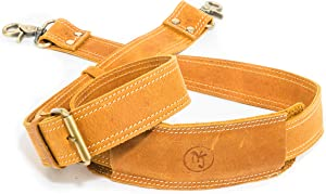 Messenger Bag Strap Replacement | Quality GENUINE COWHIDE Leather Adjustable Shoulder Strap | For Messenger, Laptop, Camera, Travel Bags and More (Light Brown)