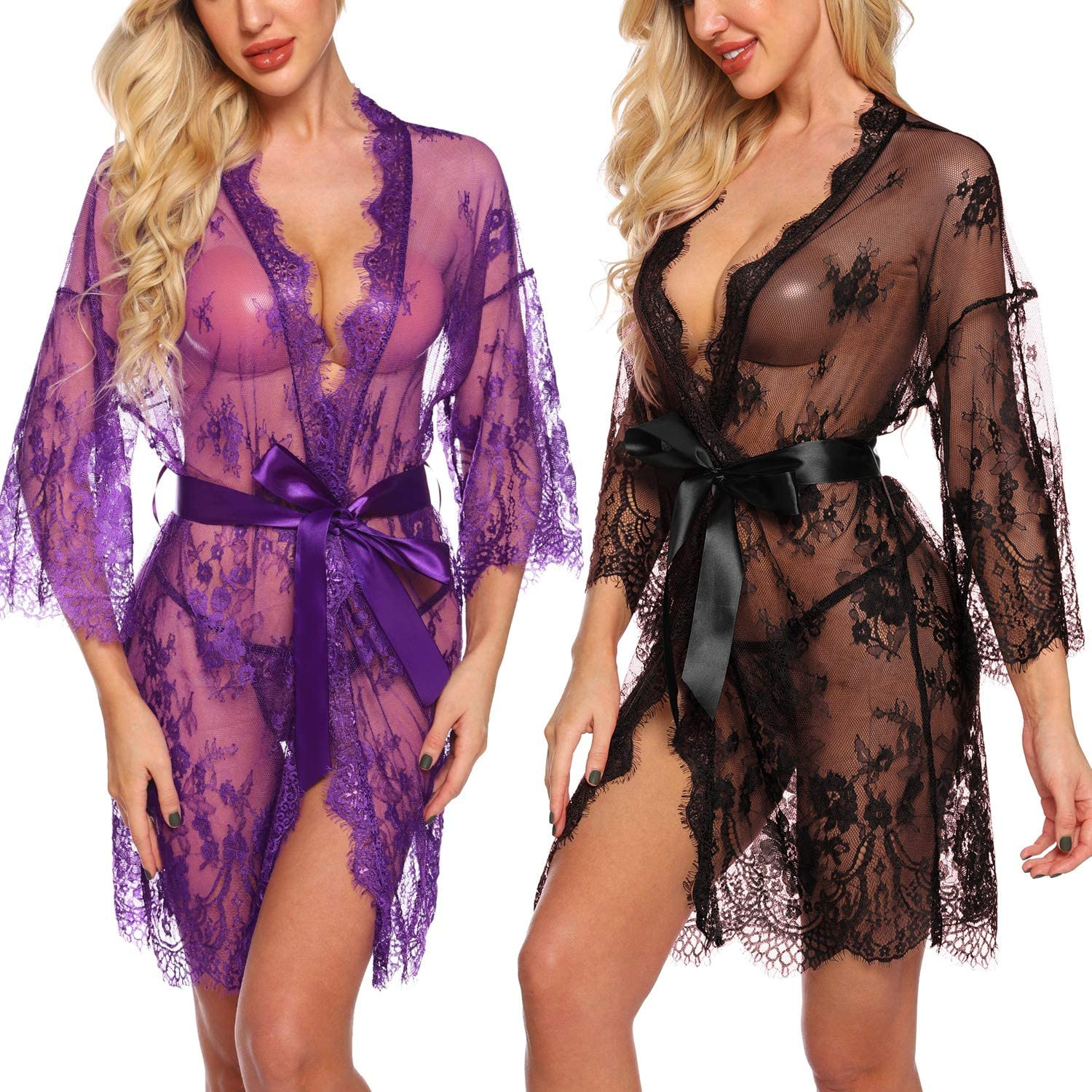 Black Sexy See Thru LSY Lace Belted Robe,T-Thong One Size