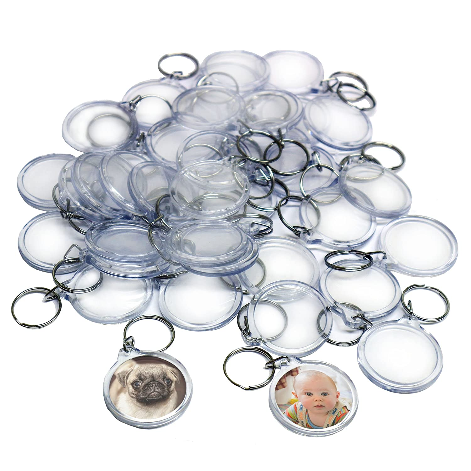 50 Clear Round Acrylic Photo Keychains by Kurtzy - 4 cm Diameter Translucent Keyring - Wallet Friendly Key Ring for Custom Personalised Insert Pictures - Plastic Keychain Suitable for Women and Men MA-6042