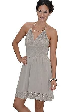 9315c73c8d9 COTTON ORGANIC Women s Beach Dress Crochet Backless Bohemian Halter Maxi  Short Dress at Amazon Women s Clothing store