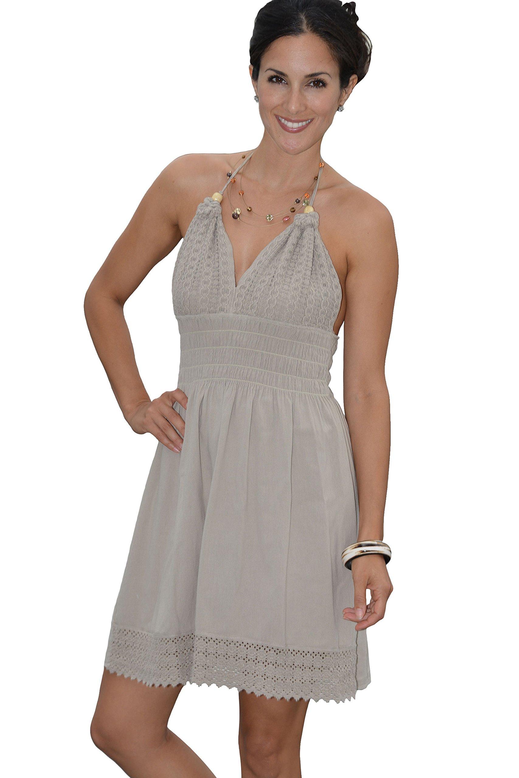 COTTON ORGANIC Women's Beach Crochet Backless Bohemian Halter Maxi Short Dress (Beige, Medium)