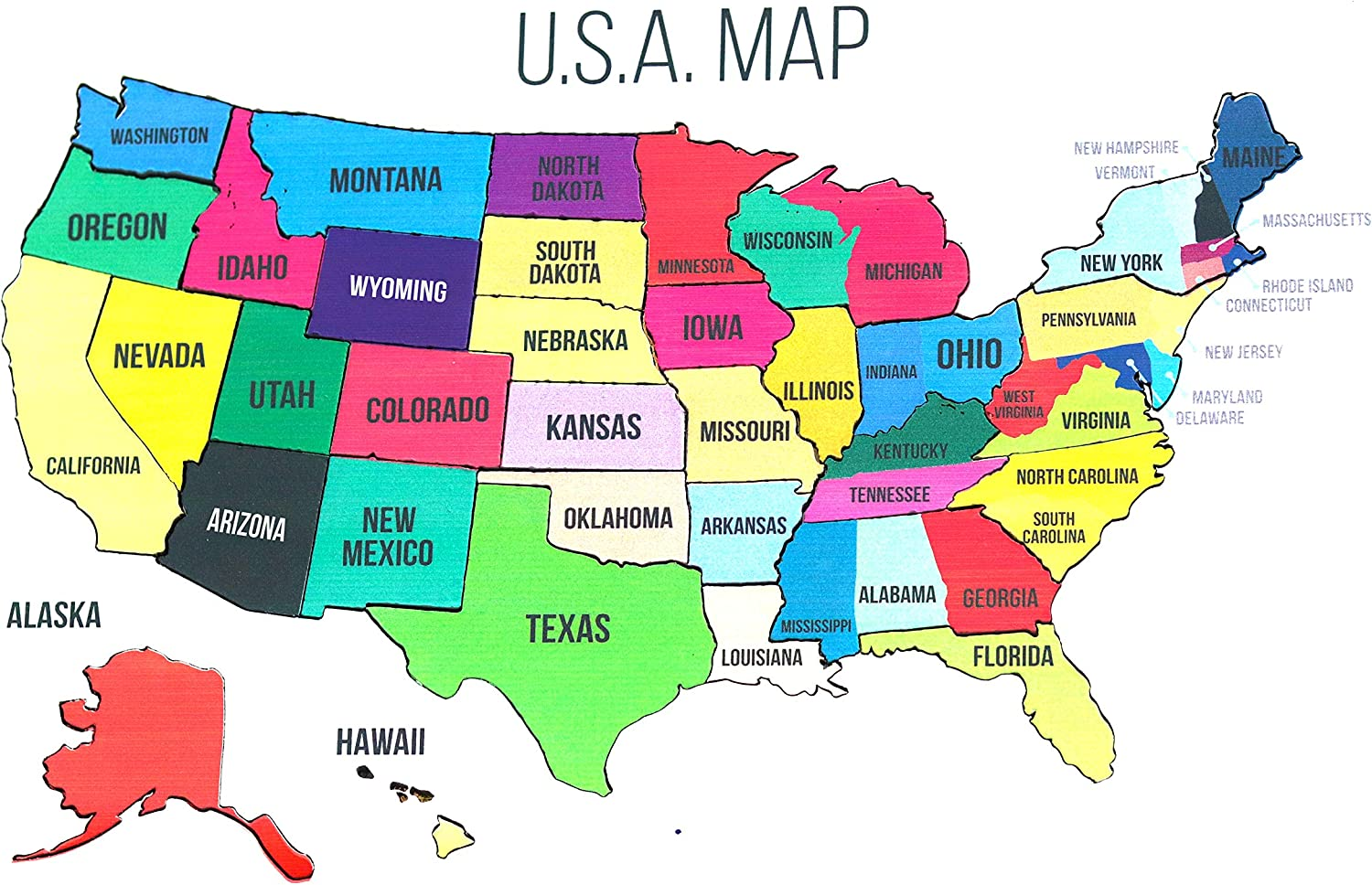 Amazon.com: Wooden United States Map Puzzle Map Wall Art USA ...