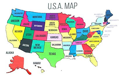Amazon.com: Wooden United States Map Puzzle Map Wall Art USA ... on