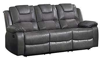 Amazon Com Homelegance 8210gry 3 Taye Double Recliner Sofa Leather