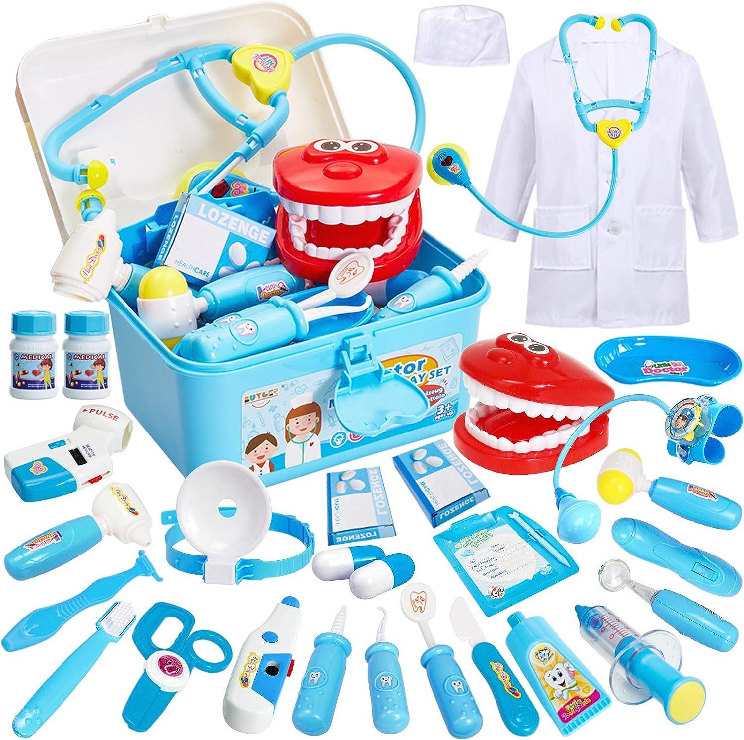 Doktor Rollenspiel Spielzeug mit Arztkittel und Stethoskop f/ür Kinder Jungen M/ädchen /über 3 Jahre PHYLES Arztkoffer Spielzeug f/ür Kinder