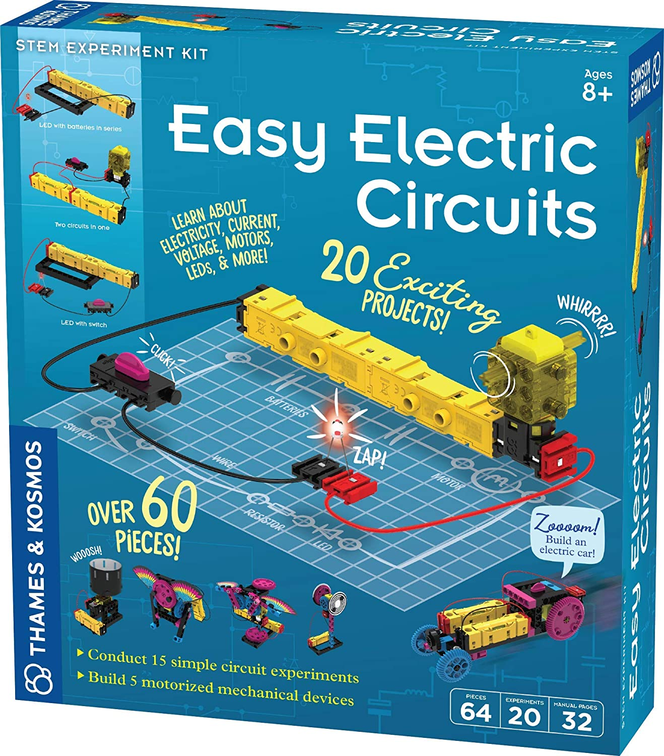 Innovative Voltage 5 Motorized Models Electricity Thames /& Kosmos Easy Electric Circuits STEM Kit Easy-to-Use Building System LEDs /& More Essential Circuitry Set 15 Experiments Current