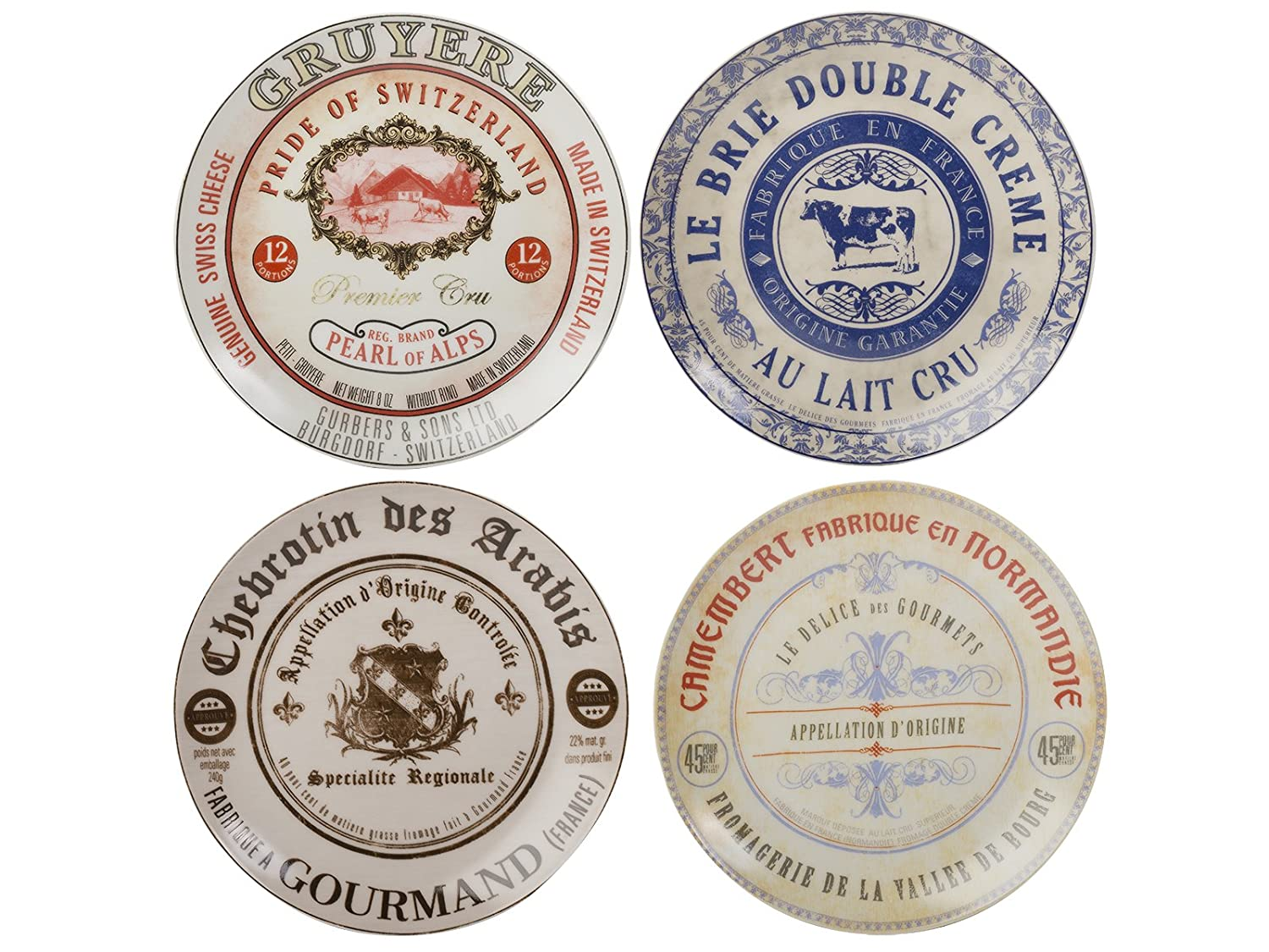 Set of 4 Gourmet Cheese Porcelain Side Plates In Hat Box Creative Tops SP3607