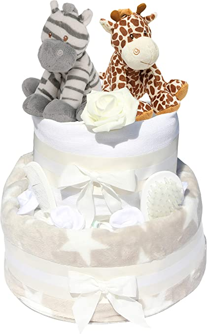 Ben noto Doppia Deluxe torta di pannolini unisex design neutro, per gemelli JT93